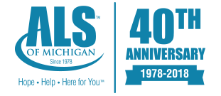 ALS of Michigan: Hope. Help. Here For You. Logo and Link to Homepage.